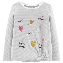 Carters Big Girls Striped Hearts Tie Front T-Shirt