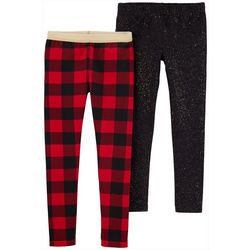 Carters Little Girls 2-pk. Checkered Glitter Leggings