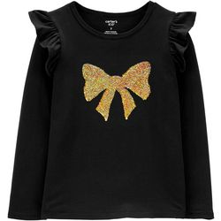 Carters Little Girls Sequin Christmas Bow Ruffle Top