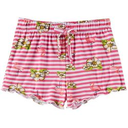 Poof Big Girls Striped Flamingo Shorts