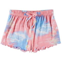 Poof Big Girls Tie Dye Ruffle Hem Shorts