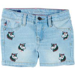 Vigoss Little Girls All Over Unicorn Denim Shorts