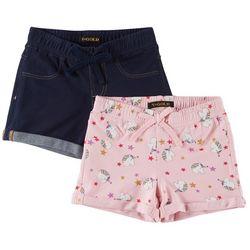 Vigoss Little Girls 2-pk. Unicorn & Solid Cuffed Shorts