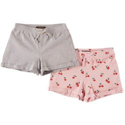 Vigoss Little Girls 2-pk. Cherry Print & Solid Cuffed Shorts