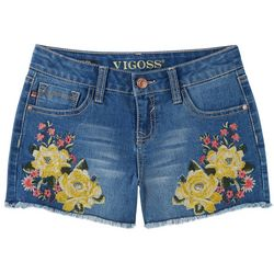 Vigoss Little Girls Rosy Embroidered Denim Shorts