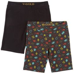 Vigoss Little Girls 2-pk. Fish Print & Solid Bermuda Shorts