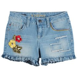 Vigoss Little Girls Floral Embroidered Ruffle Denim Shorts