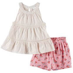 Forever Me Little Girls 2-pc. Watermelon Shorts Set