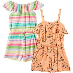 Forever Me Little Girls 2-pk. Caticorn & Striped Rompers