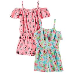 Forever Me Little Girls 2-pk. Floral & Panda Rompers