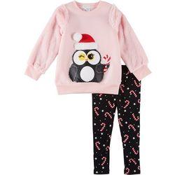 Forever Me Little Girls 2-pc. Penguin Santa Leggings Set