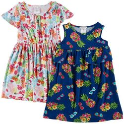 Forever Me Little Girls 2-pk. Tropical Floral Dresses