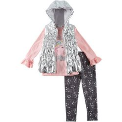 Forever Me Little Girls 3-pc. Unicorn Puffer Vest Set