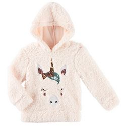 Miss Chievous Little Girls Unicorn Sherpa Hooded Sweater