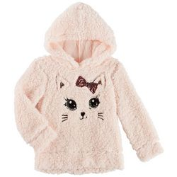 Miss Chievous Little Girls Kitten Sherpa Hooded Sweater