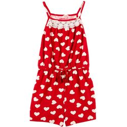 1st Kiss Little Girls Heart Print Lace Trim Romper