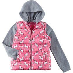 Pink Platinum Little Girls Unicorn Bubble Vest Hoodie
