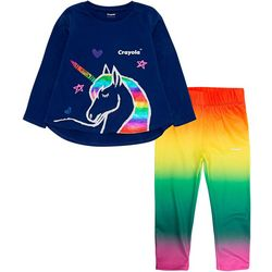 Crayola Little Girls 2-pc. Rainbow Unicorn Leggings Set