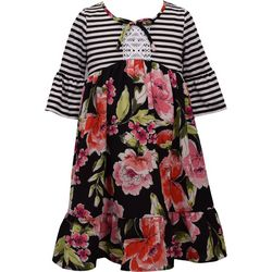 Bonnie Jean Little Girls Floral Stripe Ruffle Sleeve Dress