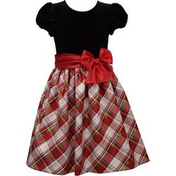 Bonnie Jean Little Girls Plaid Velvet Bubble Sleeve Dress
