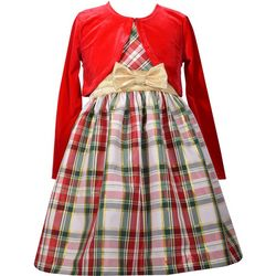 Bonnie Jean Little Girls Plaid Long Sleeve Cardigan Dress