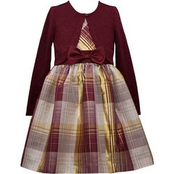Bonnie Jean Little Girls Sparkly Plaid Cardigan Dress