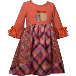 Bonnie Jean Little Girls Mixed Striped Pumpkin Dress