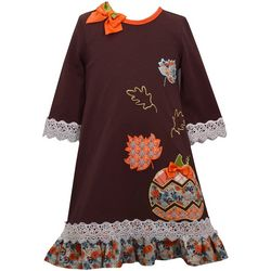 Bonnie Jean Little Girls Fall Pumpkin Lace Trim Dress