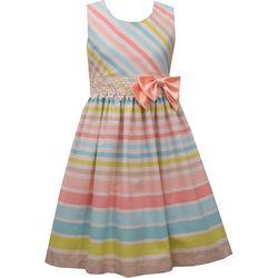 Bonnie Jean Little Girls Sleeveless Linen Stripe Dress