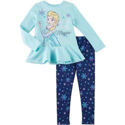 Disney Frozen Little Girls 2-pc. Fleece Elsa Leggings Set