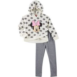 Disney Minnie Mouse Little Girls Fleece Polka Dot Hoodie Set