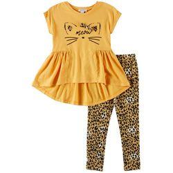 Flapdoodles Little Girls 2-pc. Meow Leggings Set
