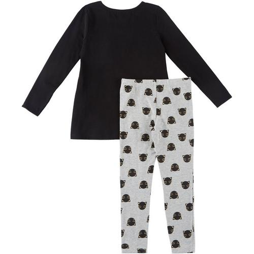 Flapdoodles Girls Pink Gray Sequin Cat Size 2T-6X Tunic Top Pants
