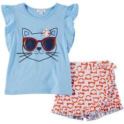 Flapdoodles Little Girls 2-pc. Kitty Short Set
