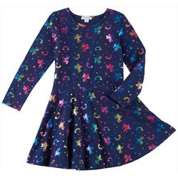Flapdoodles Little Girls Foil Unicorn Print Dress