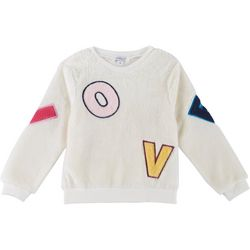 Flapdoodles Little Girls Love Sherpa Long Sleeve Top