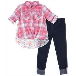 Little Lass Little Girls Plaid & Floral Print Leggings Set