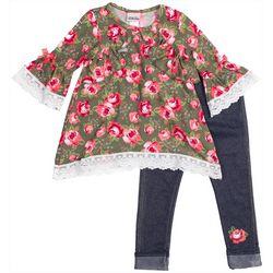 Little Lass Little Girls Floral Crochet Denim Leggings Set