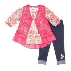 Little Lass Little Girls 3-pc. Lace Vest & Leggings Set