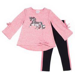 Little Lass Little Girls Sequin Unicorn Bow Leggings Set