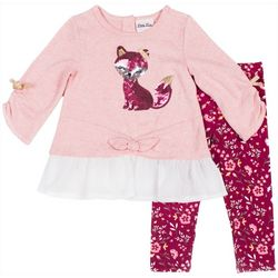 Little Lass Little Girls Sequin Fox Floral Leggings Set