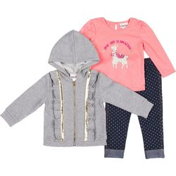 Little Lass Little Girls 3-pc. Llamazing Hoodie Set