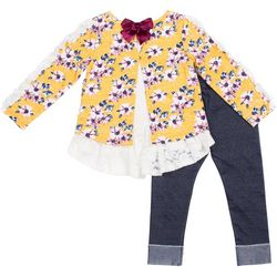 Little Lass Little Girls Floral Lace Trim Leggings Set