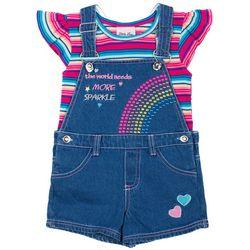 Little Lass Little Girls Needs More Sparkle Shortalls Set