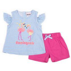 Little Lass Little Girls 2-pc. Flamingoals Short Set
