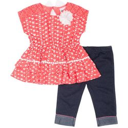 Little Lass Little Girls Eyelet Ruffle Leggings Set
