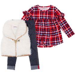 Little Lass Little Girls 3-pc. Shag Vest & Leggings Set