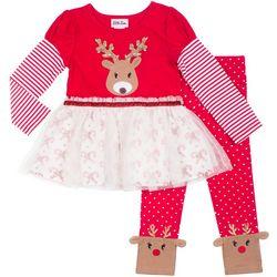 Little Lass Little Girls Reindeer Tutu Leggings Set