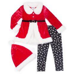 Little Lass Little Girls 3-pc. Tunic Santa & Leggings Set