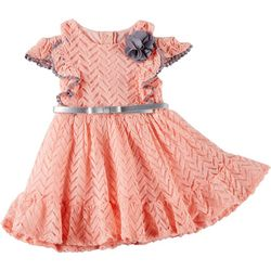 Little Lass Little Girls Solid Crochet Ruffle Dress